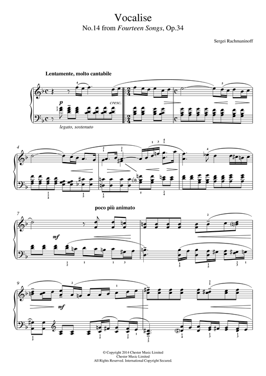 Download Sergei Rachmaninoff 'Vocalise (No.14 from Fourteen Songs, Op.34)' Digital Sheet Music Notes & Chords and start playing in minutes