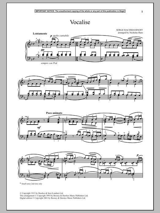 Download Sergei Rachmaninoff 'Vocalise, Op. 24, No. 14' Digital Sheet Music Notes & Chords and start playing in minutes
