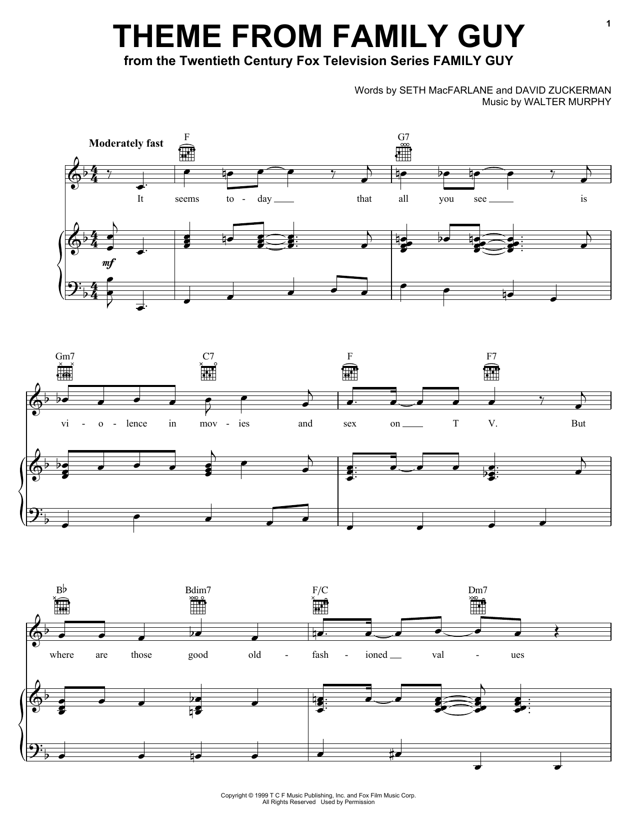 Seth MacFarlane Theme From Family Guy sheet music preview music notes and score for Piano (Big Notes) including 2 page(s)