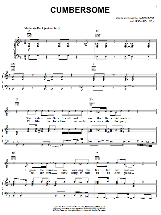 Seven Mary Three Cumbersome sheet music preview music notes and score for Piano, Vocal & Guitar (Right-Hand Melody) including 6 page(s)