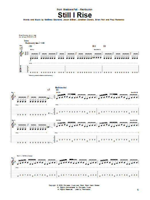 Shadows Fall Still I Rise sheet music preview music notes and score for Guitar Tab including 10 page(s)