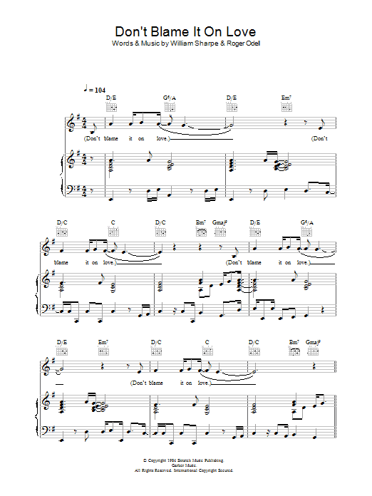 Shakatak Don't Blame It On Love sheet music preview music notes and score for Piano, Vocal & Guitar including 5 page(s)