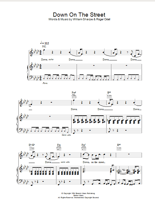 Shakatak Down On The Street sheet music preview music notes and score for Piano, Vocal & Guitar including 5 page(s)
