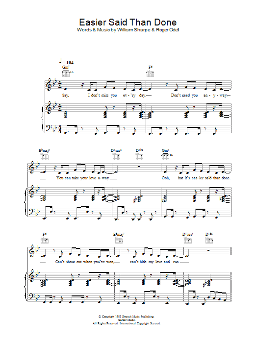 Shakatak Easier Said Than Done sheet music preview music notes and score for Piano, Vocal & Guitar including 5 page(s)