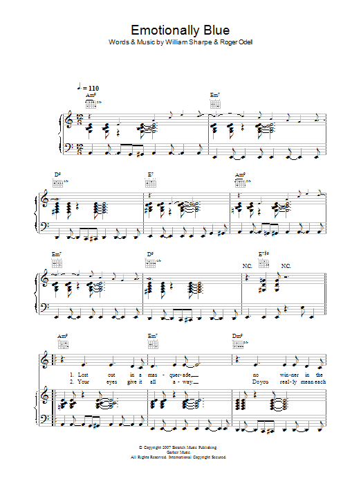 Shakatak Emotionally Blue sheet music preview music notes and score for Piano, Vocal & Guitar including 5 page(s)