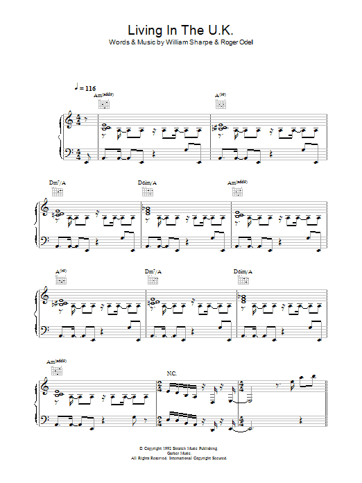 Shakatak Living In The UK sheet music preview music notes and score for Piano, Vocal & Guitar including 6 page(s)