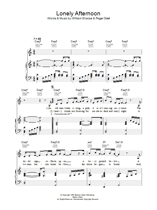 Shakatak Lonely Afternoon sheet music preview music notes and score for Piano, Vocal & Guitar including 4 page(s)