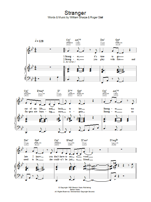 Shakatak Stranger sheet music preview music notes and score for Piano, Vocal & Guitar including 4 page(s)