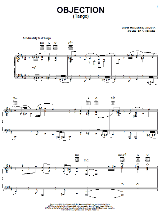 Shakira Objection (Tango) sheet music preview music notes and score for Piano, Vocal & Guitar (Right-Hand Melody) including 11 page(s)