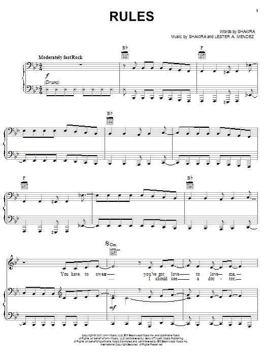 Shakira Rules sheet music preview music notes and score for Piano, Vocal & Guitar (Right-Hand Melody) including 8 page(s)
