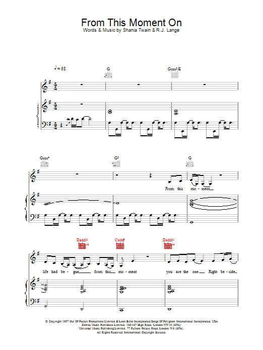 Shania Twain From This Moment On sheet music preview music notes and score for Piano, Vocal & Guitar (Right-Hand Melody) including 7 page(s)