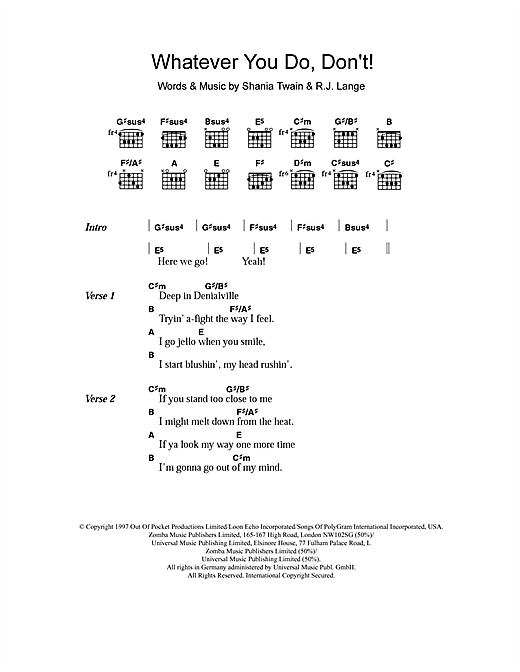 Shania Twain Whatever You Do, Don't! sheet music notes and chords