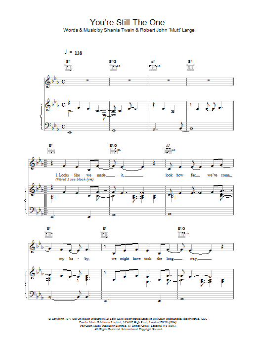 Shania Twain You're Still The One sheet music preview music notes and score for Keyboard including 2 page(s)