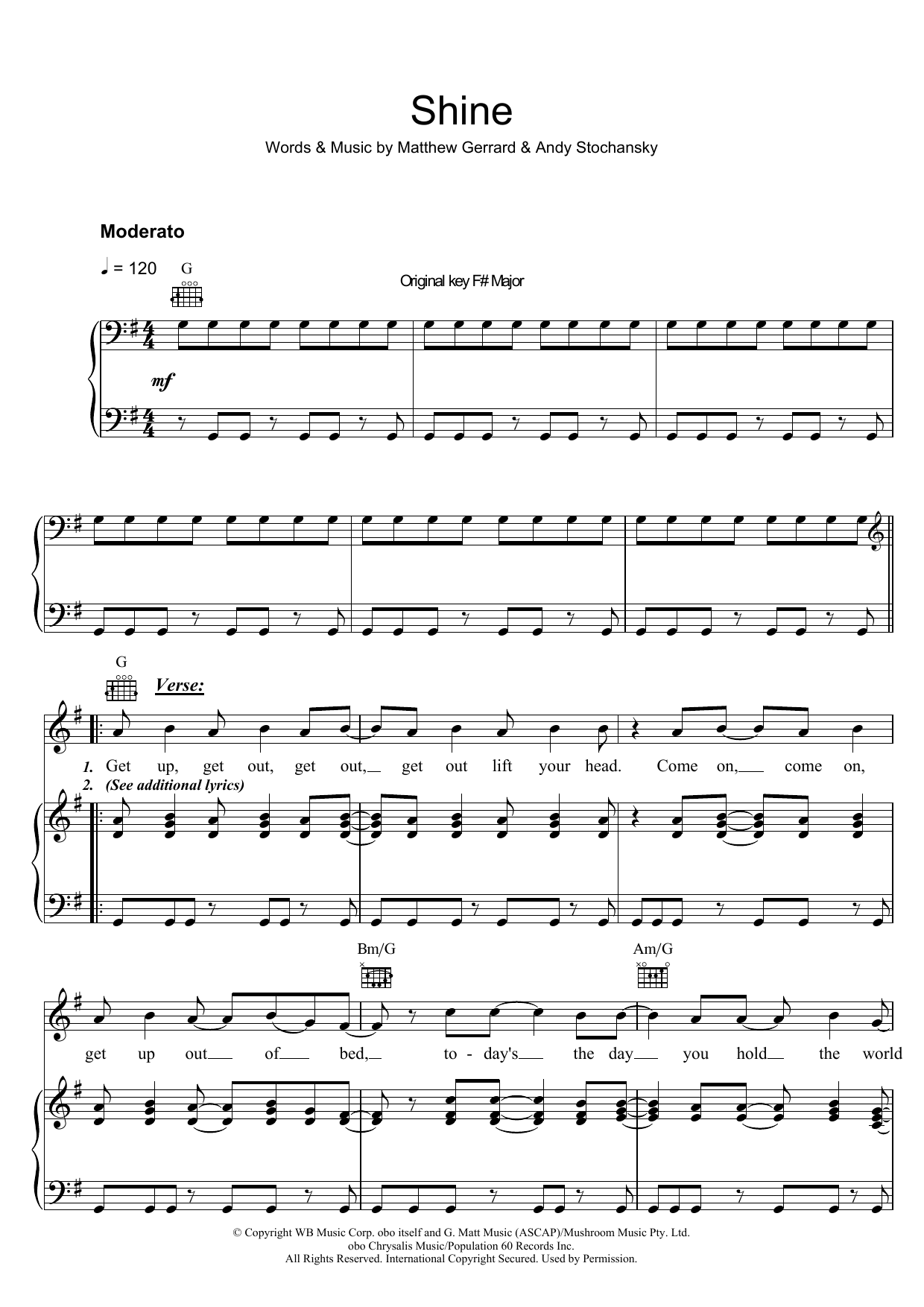 Shannon Noll Shine sheet music preview music notes and score for Piano, Vocal & Guitar (Right-Hand Melody) including 6 page(s)