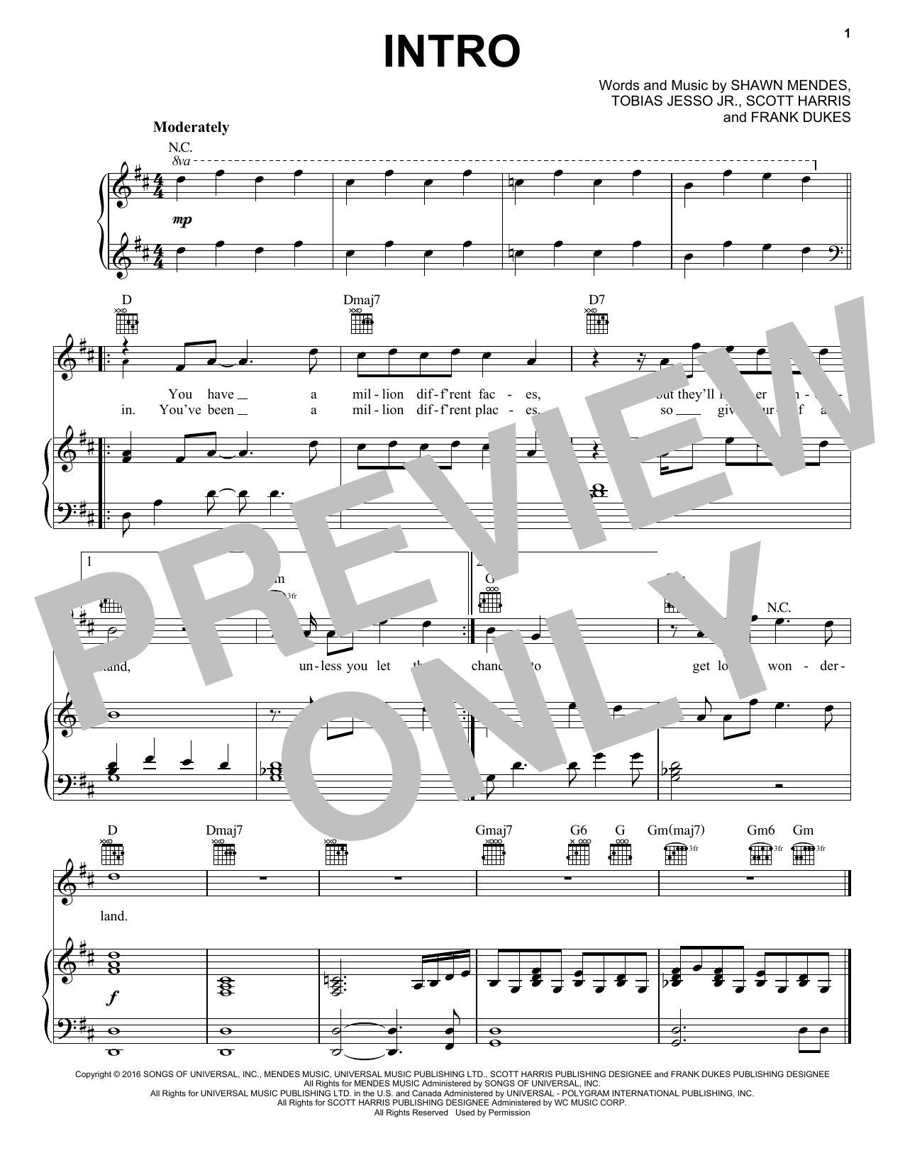 Shawn Mendes Intro sheet music notes and chords