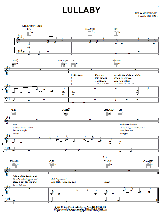 Shawn Mullins Lullaby sheet music notes and chords