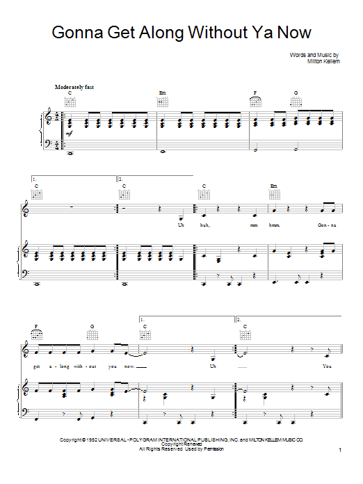 She & Him Gonna Get Along Without Ya Now sheet music preview music notes and score for Piano, Vocal & Guitar (Right-Hand Melody) including 5 page(s)
