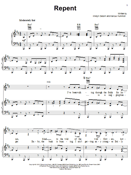 SHeDAISY Repent sheet music preview music notes and score for Piano, Vocal & Guitar (Right-Hand Melody) including 6 page(s)