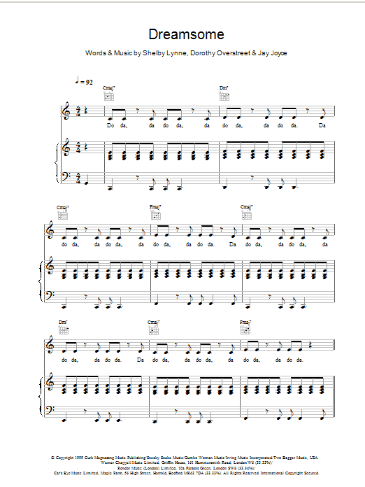Shelby Lynne Dreamsome (from Bridget Jones's Diary) sheet music preview music notes and score for Piano, Vocal & Guitar (Right-Hand Melody) including 4 page(s)