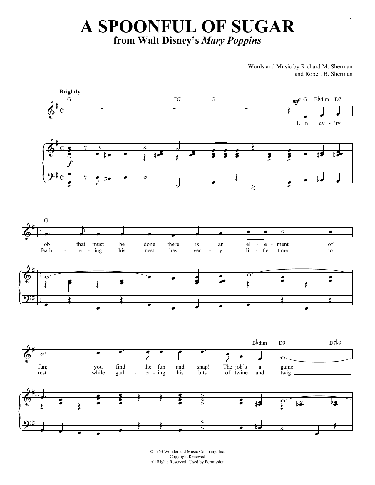 Download Sherman Brothers 'A Spoonful Of Sugar' Digital Sheet Music Notes & Chords and start playing in minutes