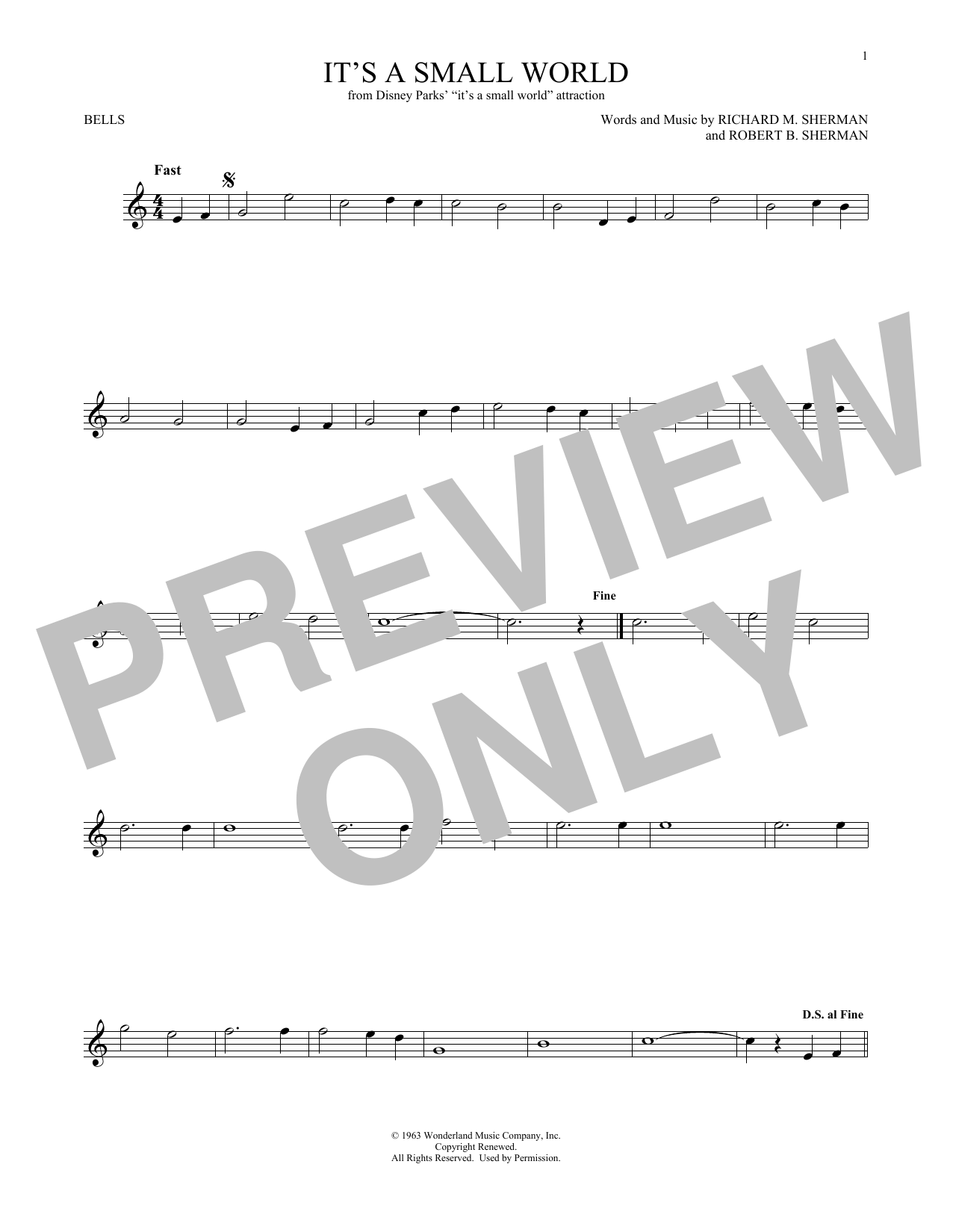 Sherman Brothers It's A Small World sheet music preview music notes and score for Guitar Tab including 2 page(s)