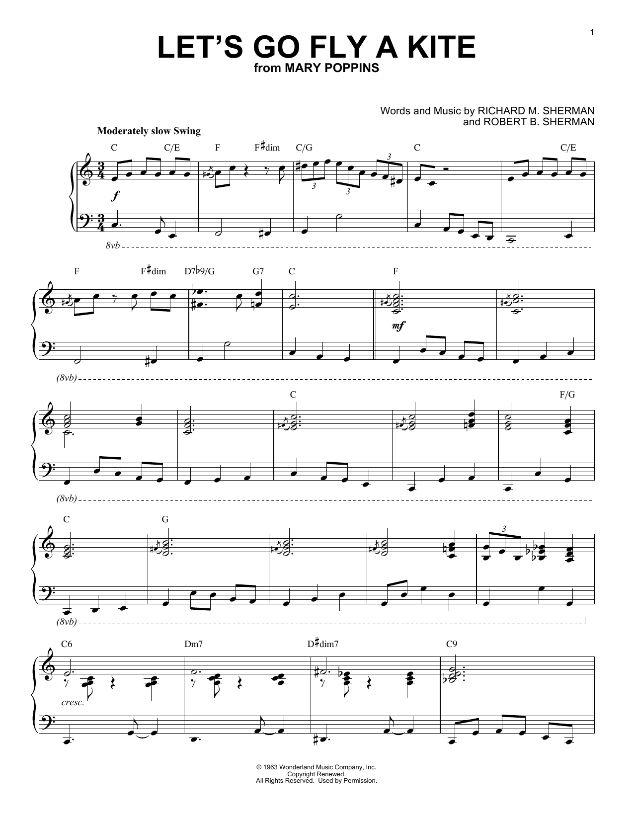 Download Robert B. Sherman 'Let's Go Fly A Kite' Digital Sheet Music Notes & Chords and start playing in minutes