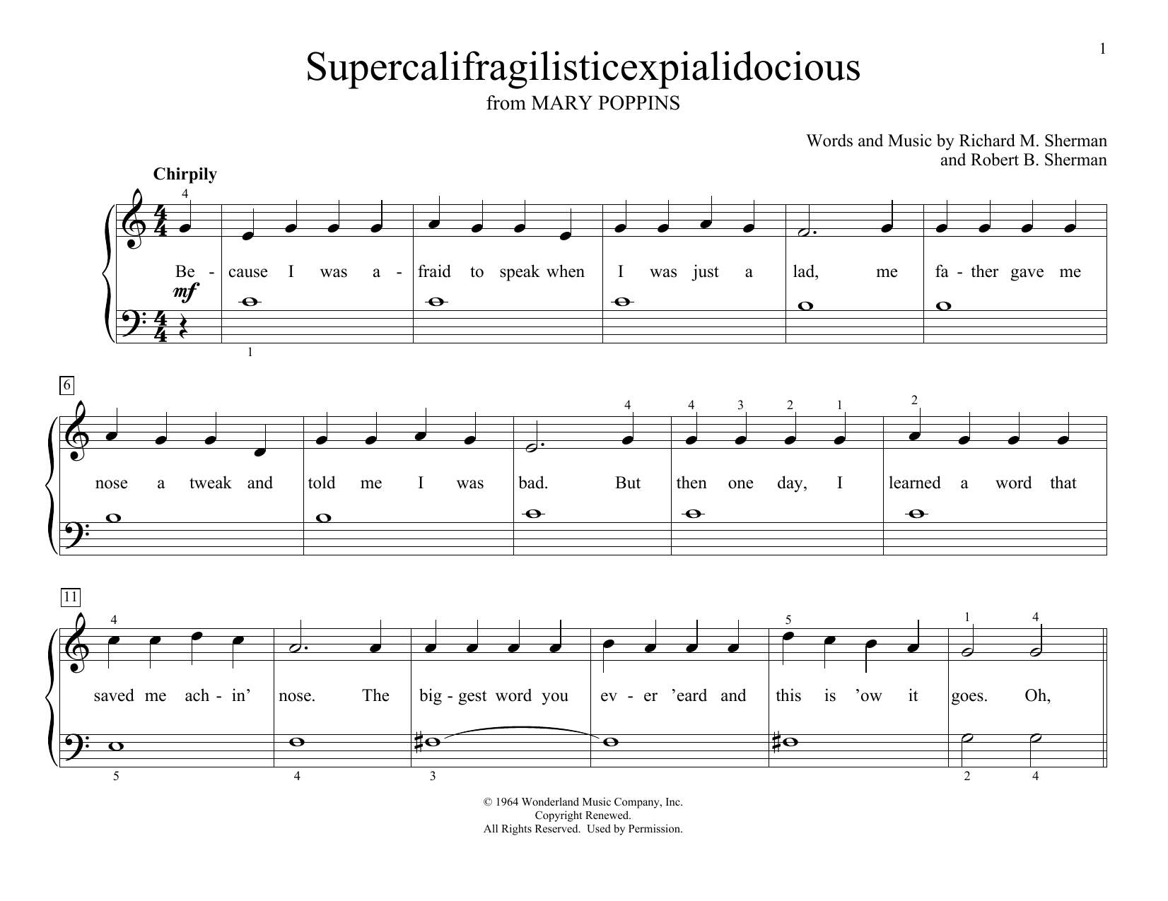 Sherman Brothers Supercalifragilisticexpialidocious (from Mary Poppins) (arr. Christopher Hussey) sheet music preview music notes and score for Educational Piano including 2 page(s)