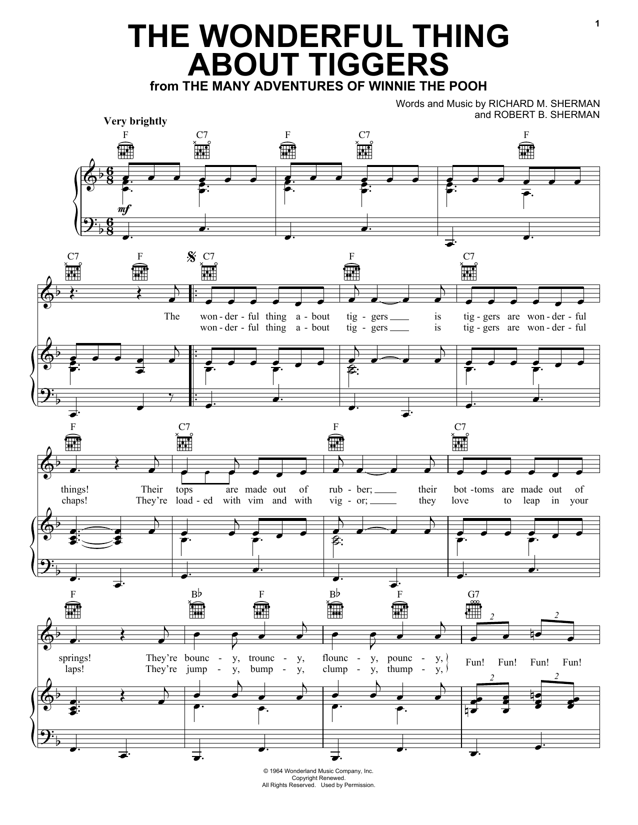 Sherman Brothers The Wonderful Thing About Tiggers sheet music notes and chords