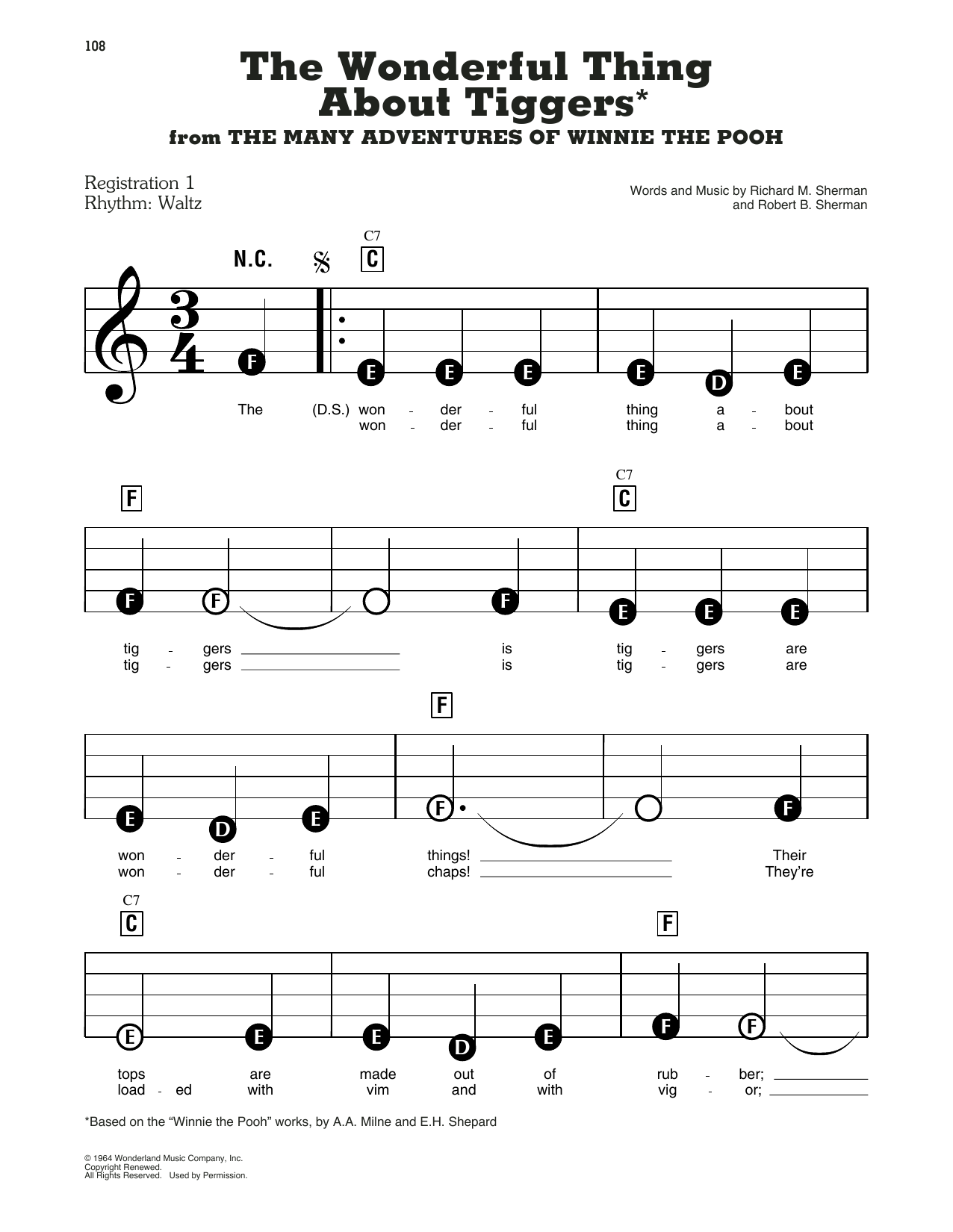 Sherman Brothers The Wonderful Thing About Tiggers (from The Many Adventures Of Winnie The Pooh) sheet music preview music notes and score for E-Z Play Today including 4 page(s)