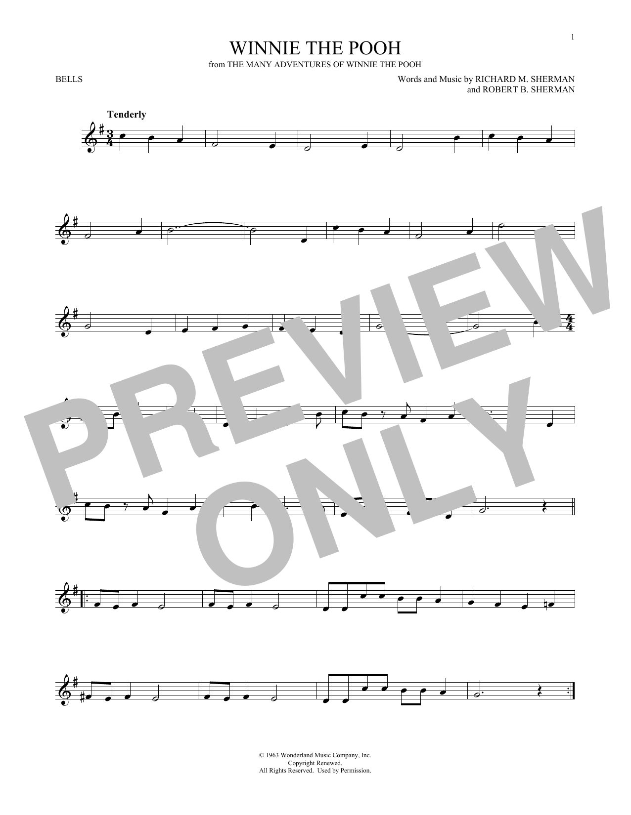 Sherman Brothers Winnie The Pooh sheet music preview music notes and score for Guitar Tab including 2 page(s)
