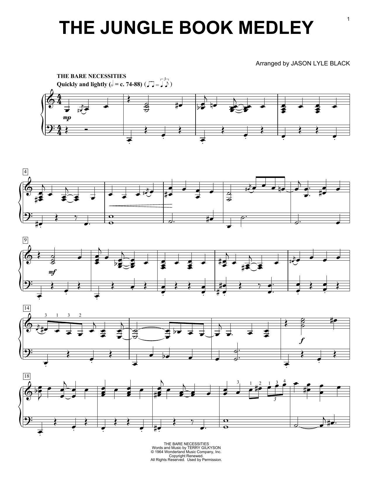 Download Jason Lyle Black 'Jungle Book Medley' Digital Sheet Music Notes & Chords and start playing in minutes