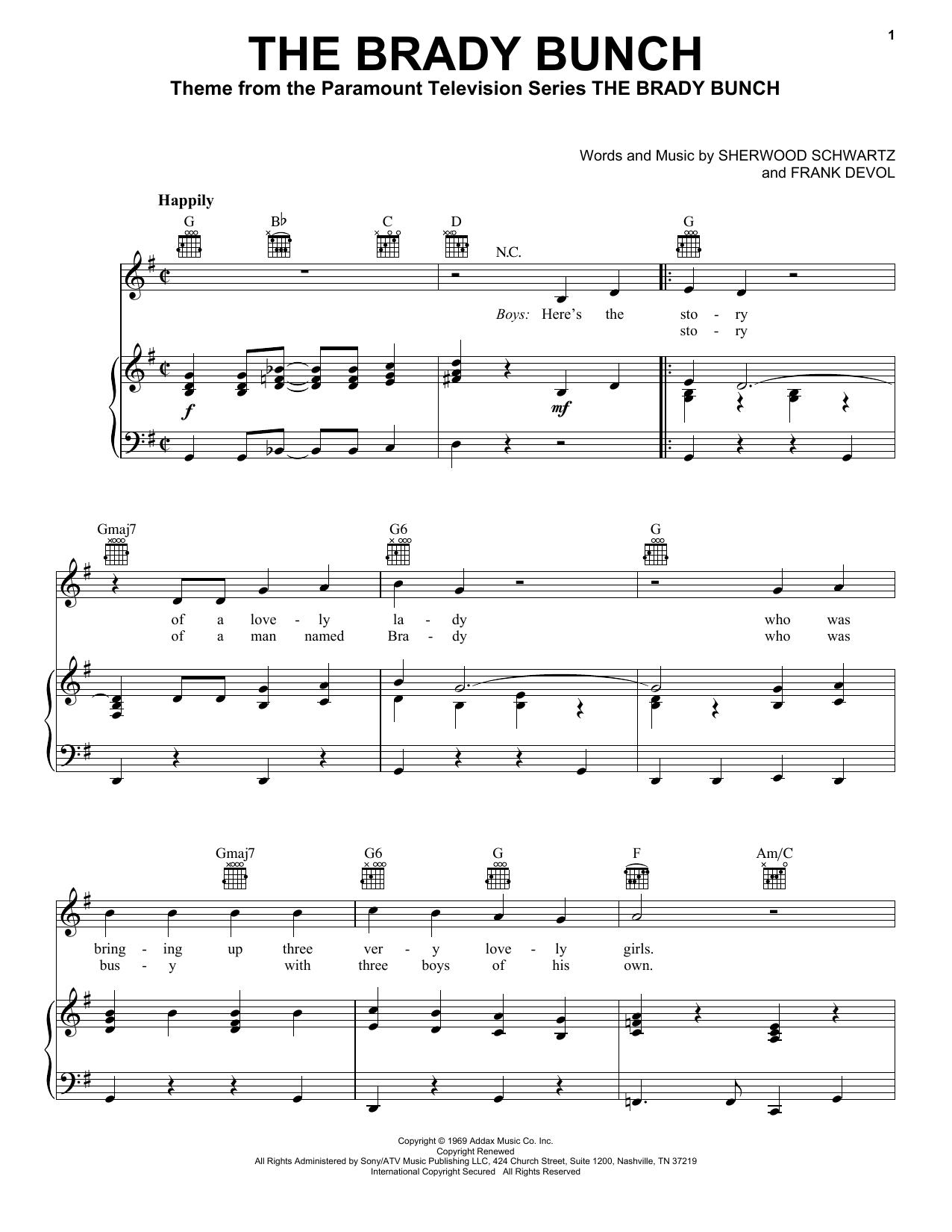 Sherwood Schwartz The Brady Bunch sheet music notes and chords