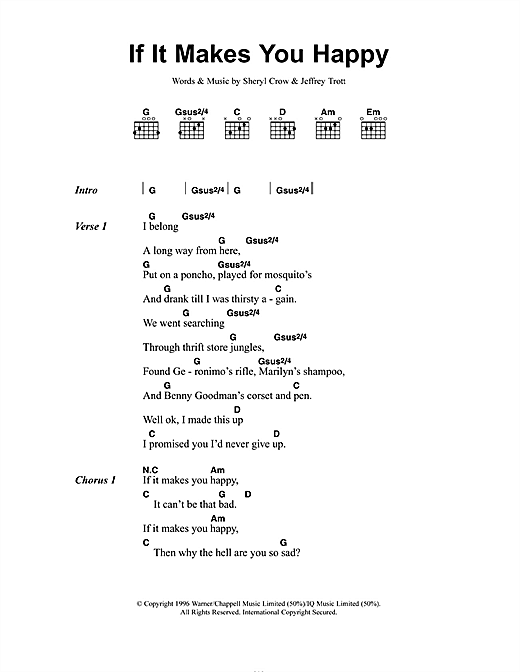 Sheryl Crow If It Makes You Happy sheet music preview music notes and score for Lyrics & Piano Chords including 3 page(s)
