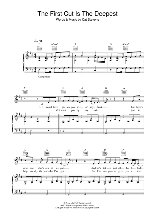 Download Sheryl Crow 'The First Cut Is The Deepest' Digital Sheet Music Notes & Chords and start playing in minutes