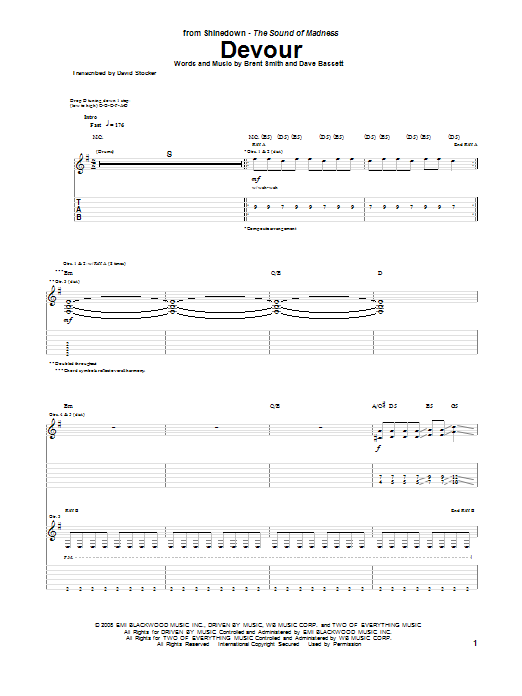 Shinedown Devour sheet music preview music notes and score for Guitar Tab including 8 page(s)