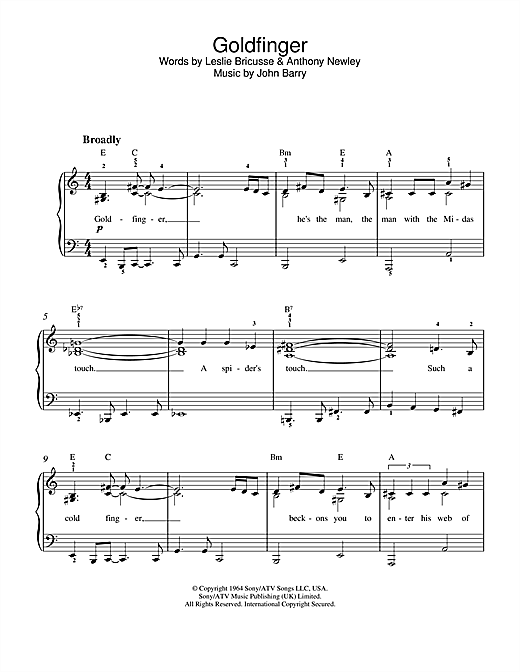 Shirley Bassey Goldfinger (theme from the James Bond film) sheet music notes and chords