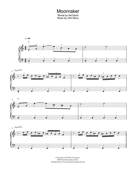 Download Shirley Bassey 'Moonraker' Digital Sheet Music Notes & Chords and start playing in minutes