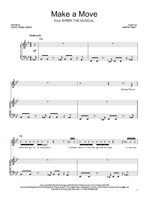 Shrek The Musical Make A Move sheet music preview music notes and score for Piano, Vocal & Guitar (Right-Hand Melody) including 9 page(s)