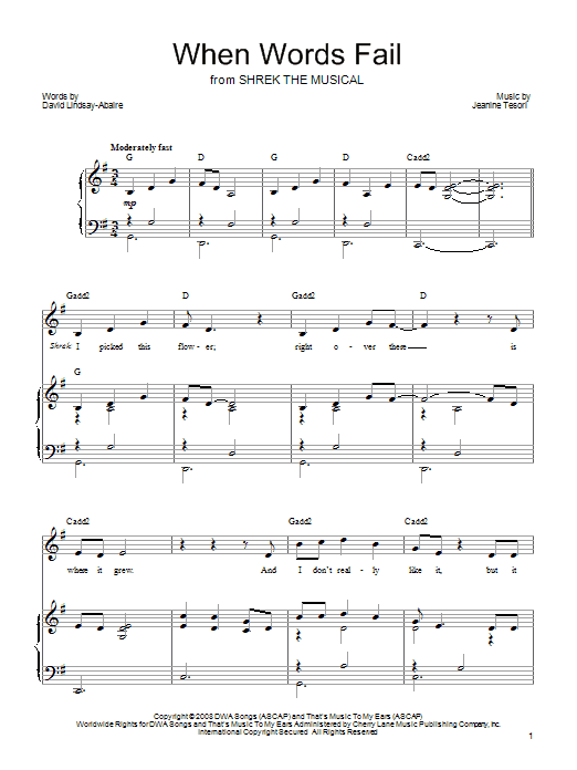 Jeanine Tesori When Words Fail (from 'Shrek The Musical') sheet music preview music notes and score for Piano, Vocal & Guitar (Right-Hand Melody) including 7 page(s)