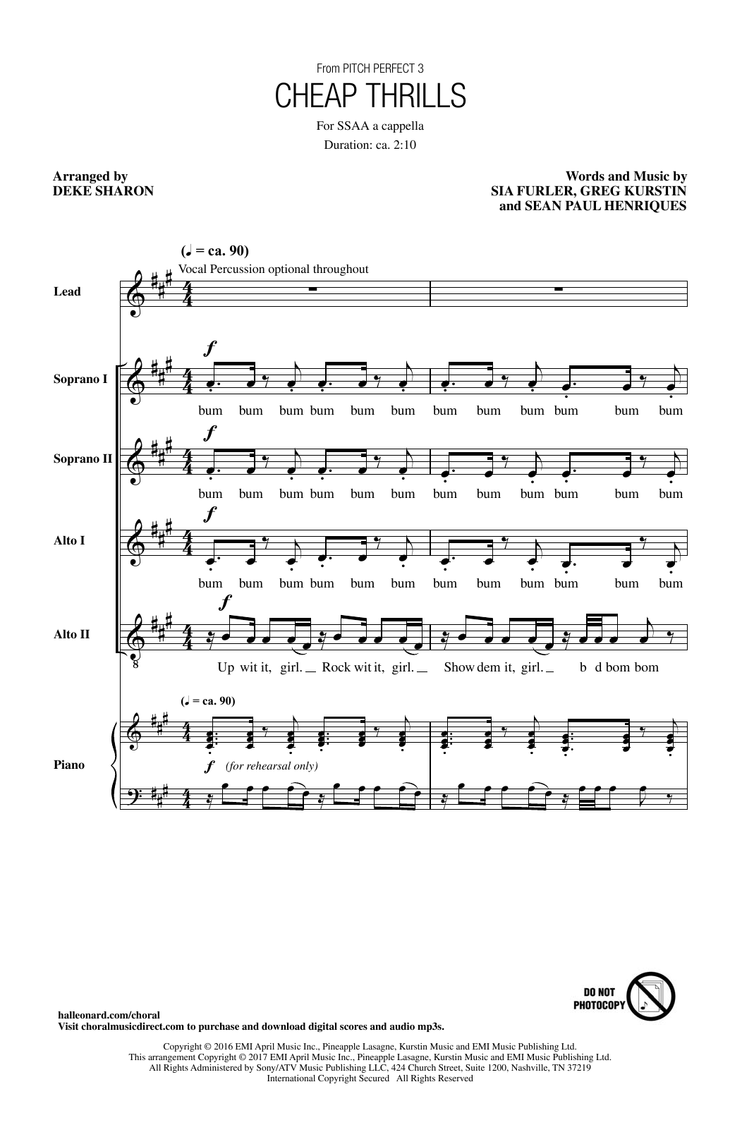 Download Sia 'Cheap Thrills (feat. Sean Paul) (arr. Deke Sharon)' Digital Sheet Music Notes & Chords and start playing in minutes