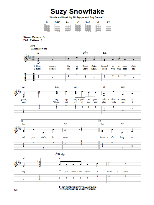 Sid Tepper Suzy Snowflake sheet music preview music notes and score for Easy Guitar Tab including 2 page(s)
