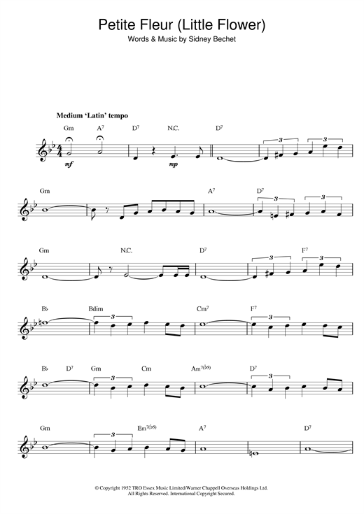 Sidney Bechet Petite Fleur (Little Flower) sheet music preview music notes and score for Guitar including 2 page(s)