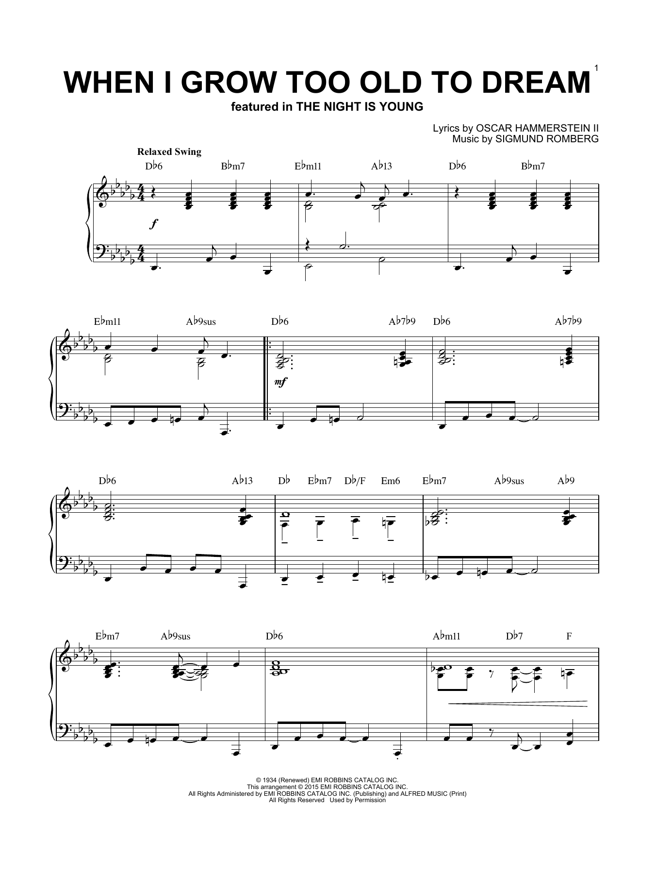 Download Sigmund Romberg 'When I Grow Too Old To Dream' Digital Sheet Music Notes & Chords and start playing in minutes