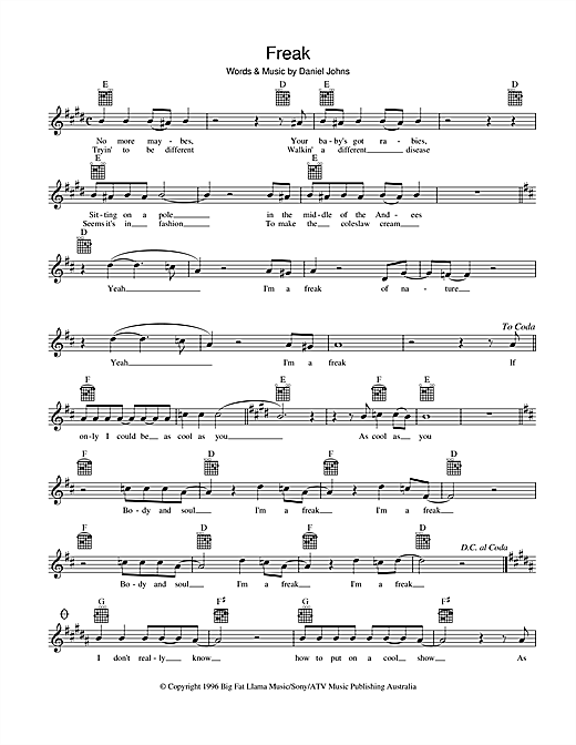 Silverchair Freak sheet music preview music notes and score for Melody Line, Lyrics & Chords including 2 page(s)