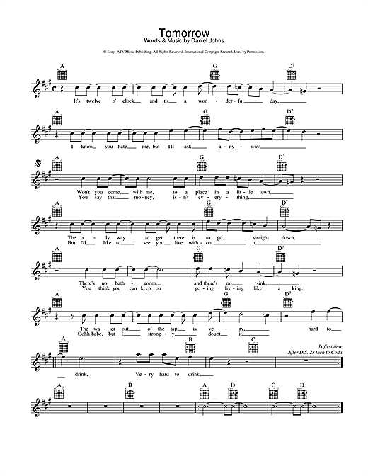 Silverchair Tomorrow sheet music preview music notes and score for Melody Line, Lyrics & Chords including 2 page(s)