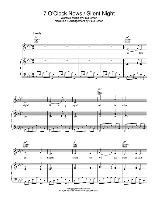 Download Simon & Garfunkel '7 O'Clock News/Silent Night' Digital Sheet Music Notes & Chords and start playing in minutes