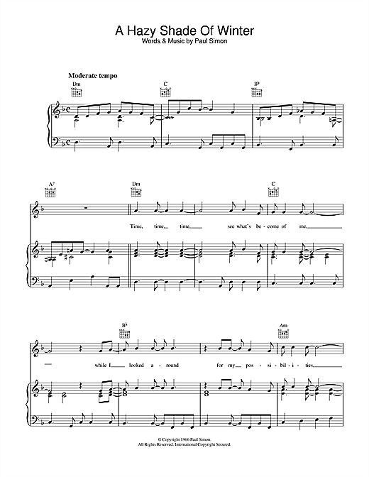 Download Simon & Garfunkel 'A Hazy Shade Of Winter' Digital Sheet Music Notes & Chords and start playing in minutes