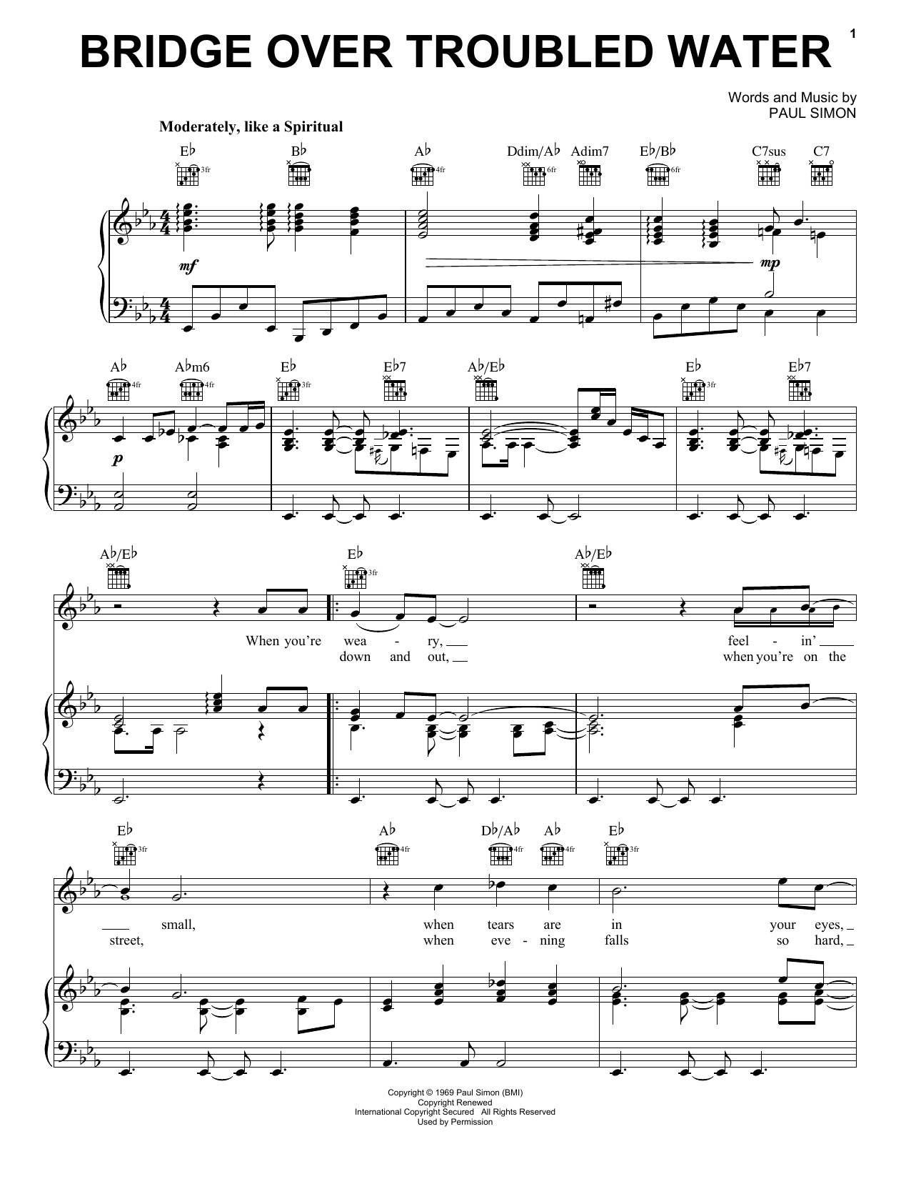 Simon & Garfunkel Bridge Over Troubled Water sheet music notes and chords
