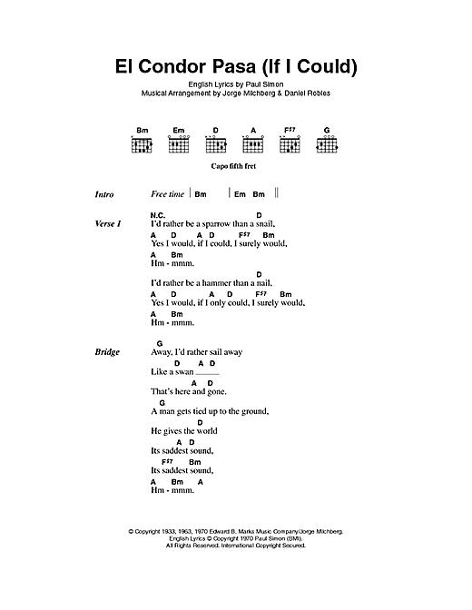 Simon & Garfunkel El Condor Pasa (If I Could) sheet music notes and chords