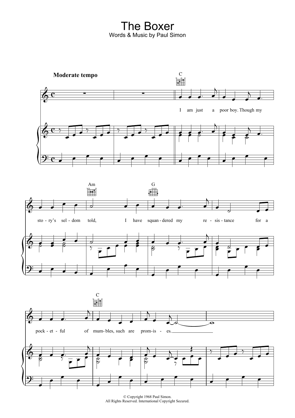 Simon & Garfunkel The Boxer sheet music preview music notes and score for Easy Guitar Tab including 5 page(s)
